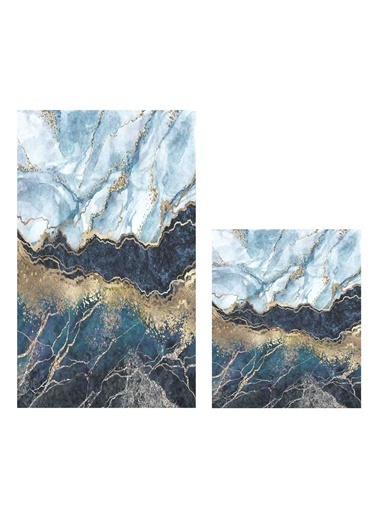 Soley Marble 01 Djt. 2 Li Banyo Paspas Seti Klozet Takımı Renkli